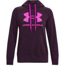 Under Armour Womens Rival Fleece Logo Hoodie (Purple Pink) XL