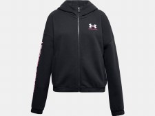 Under Armour Girls Rival Fleece Full Zip Hoodie (Black Pink) Small Girls