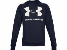 Under Armour Mens Rival Fleece Big Logo Hoody (Navy White) Large