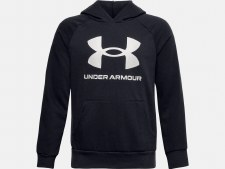 Under Armour Boys Rival Fleece Big Logo Hoodie (Black White) Medium Boys