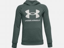 Under Armour Boys Rival Fleece Big Logo Hoodie (Teal Blue White) Medium Boys