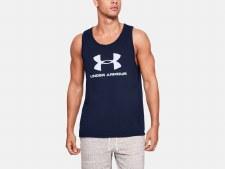 Under Armour Sports Style Logo Tank (Navy White) Medium