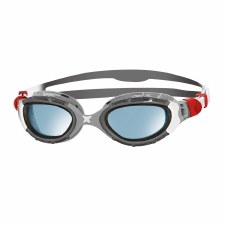 Zoggs Predator Flex Goggles (Grey Silver Red Blue Tint) Adults Regular
