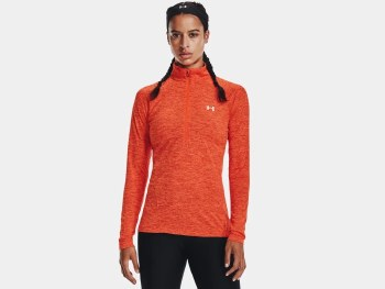 Under Armour Women's UA Tech™ Twist ½ Zip (Orange) Medium