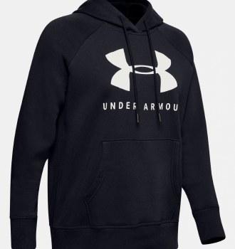 Under Armour Rival Fleece Sportsstyle Graphic Hoodie (Black White) Medium