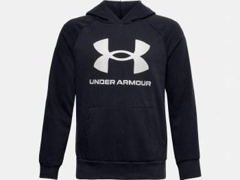 Under Armour Boys Rival Fleece Big Logo Hoodie (Black White) Medium Boys