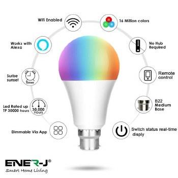 ENER-J Smart B22 RGB, White, Warm White Dimable Bulb B22