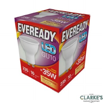 Eveready LED 3W (35W) GU10 Spot Warm White Light Bulbs 5 Pack
