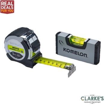 Komelon PowerBlade II Pocket Tape 5m with Mini Level