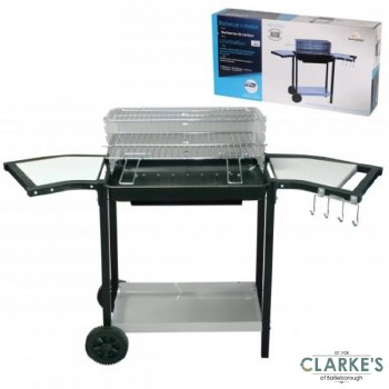 Charcoal Barbecue Grill with Side Shelves