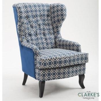 Susi Wingback Geometric Chair Blue