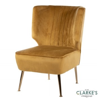 Velvet Accent Chair Mustard