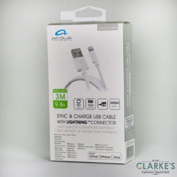 Acqua Lightning Sync & Charge Cable 3 Meter
