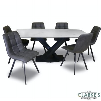 Alanna Dining Set | Ceramic Table and 6 Chairs