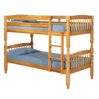 Alex Solid Wood Bunk Bed Pine with 2 Mattresses. FREE Shipping!