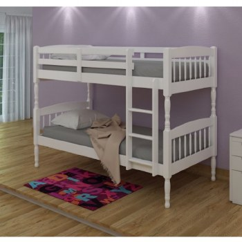 Alex Solid Wood Bunk Bed White with 2 Mattresses. FREE Shipping!