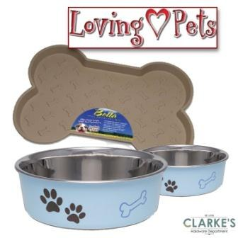 Loving Pets Bella Tray & 2 Medium Bowl Set Murano Blue