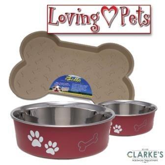 Loving Pets Bella Tray & 2 Medium Bowl Set Merlot