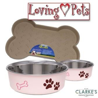 Loving Pets Bella Tray & 2 Medium Bowl Set Paparazzi Pink