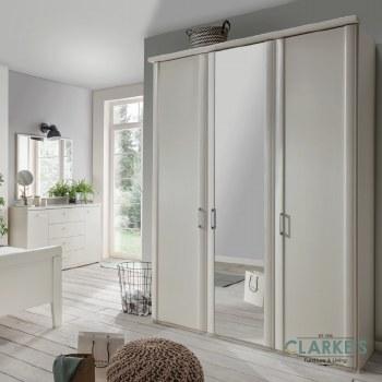 Bern 3 Door Wardrobe Rustic Oak with 1 Mirrored Door