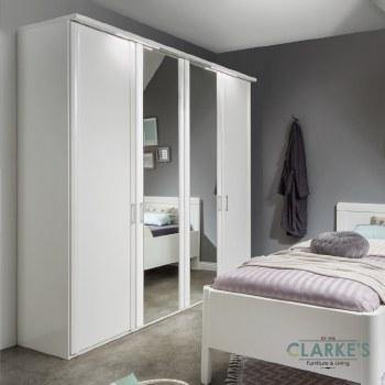 Bern 4 Door Wardrobe Rustic Oak with 2 Mirrored Doors
