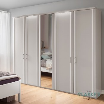 Bern 5 Door Wardrobe White with 3 Mirrored Doors