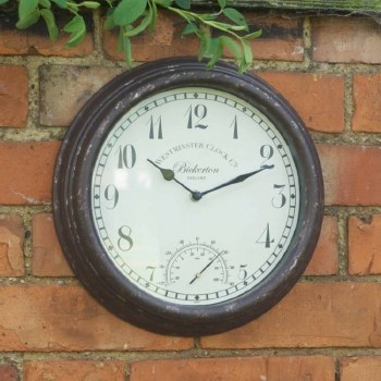 Bickerto Garden Wall Clock with Thermometer 30 cm