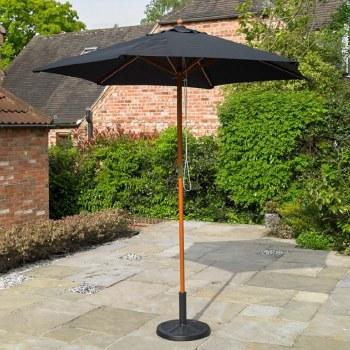 Black Wooden Garden Parasol 2.4m ( base not included )