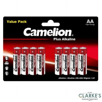 Camelion Plus Alkaline AA Batteries 8 Pack