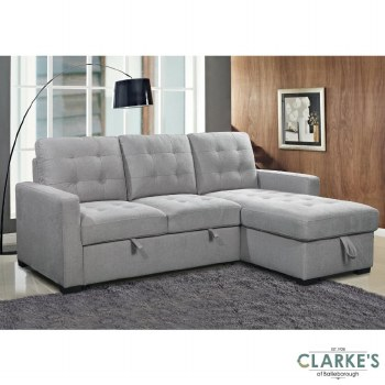 Charm of Grey Right Hand Facing Corner Sofa Bed with Ottoman. Available in the Shop!