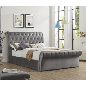 Chester 4ft6 Grey Velvet Bed. FREE Nationwide Delivery !