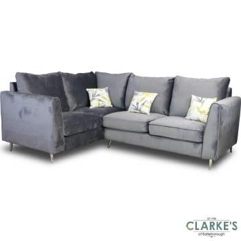 Daisy Left Hand Facing Plush Velvet Corner Sofa Grey
