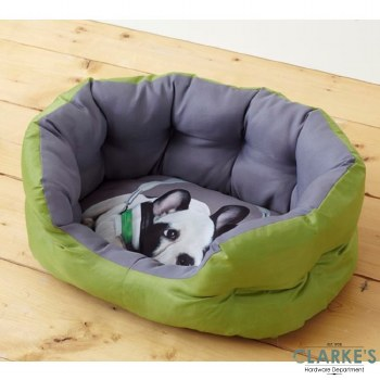 Pet Bed with Printed Cushion Green