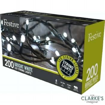 200 LED String Christmas Lights - Cool White 19.9 Meter