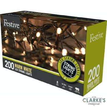 200 LED String Christmas Lights - Warm White 19.9 Meter