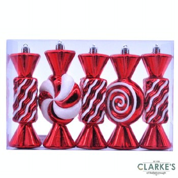 Stripped Candy - Christmas Tree Ornaments   Set of 5
