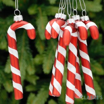 Glass Candy Canes - Christmas Tree Ornaments Set of 6