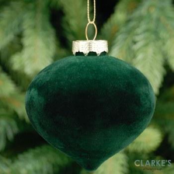 Flocked Glass Onion - Christmas Tree Ornament 8cm