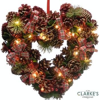 LED Lit Tartan Heart Christmas Wreath 43cm