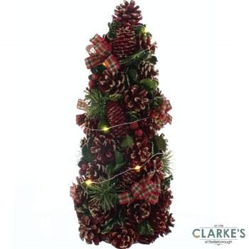 LED Lit Tartan Small Christmas Tree 43cm
