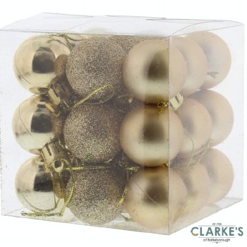 Mixed Finish Christmas Tree Baubles Gold Pack of 27
