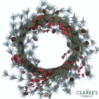 Red Berry and Bristle Christmas Wreath 58cm