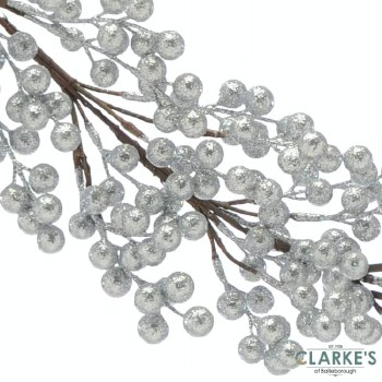 Silver Glitter Berry Cluster Christmas Garland 130cm