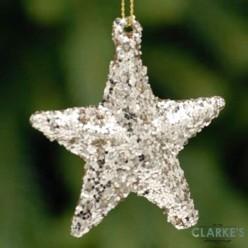 Gold Glitter Star Christmas Tree Ornament 6cm