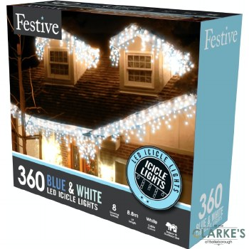 360 LED Snowing Icicle Christmas Lights - White / Blue 8.8m