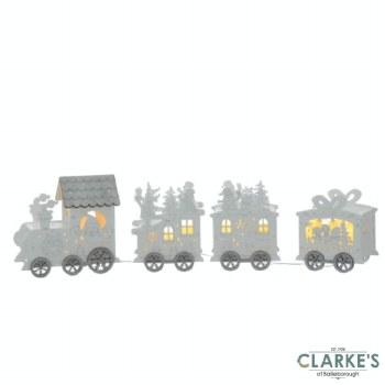 In Lit Wooden Christmas Santa Train 42cm