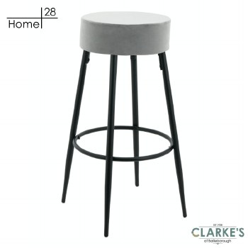 Fyn Velvet Bar Stool Grey