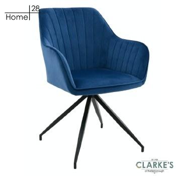 Milan Velvet Dining / Accent Chair Blue