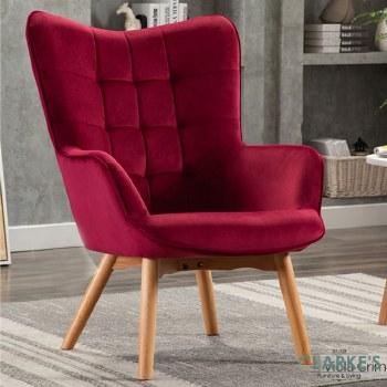 Kayla Velvet Accent Chair Viola Crimson