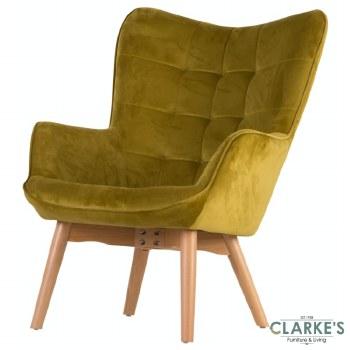 Kayla Velvet Accent Chair Mustard